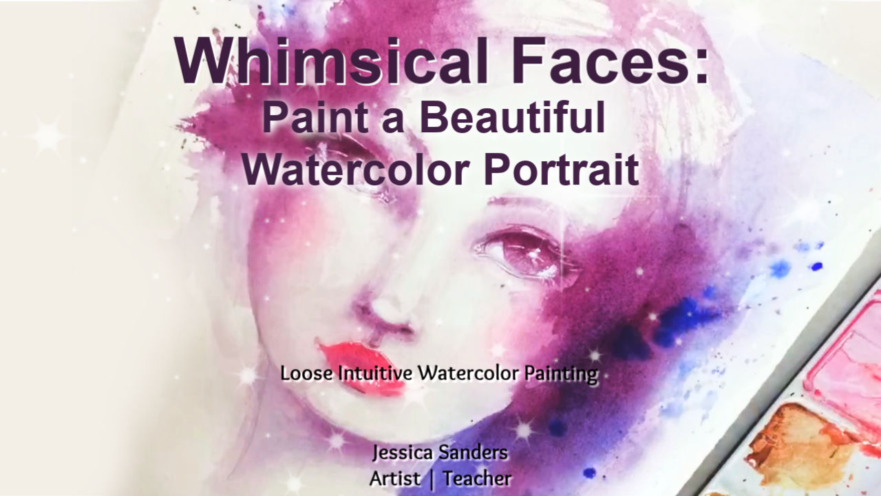 Whimsical Portrait with Watercolor by Jessica Sanders